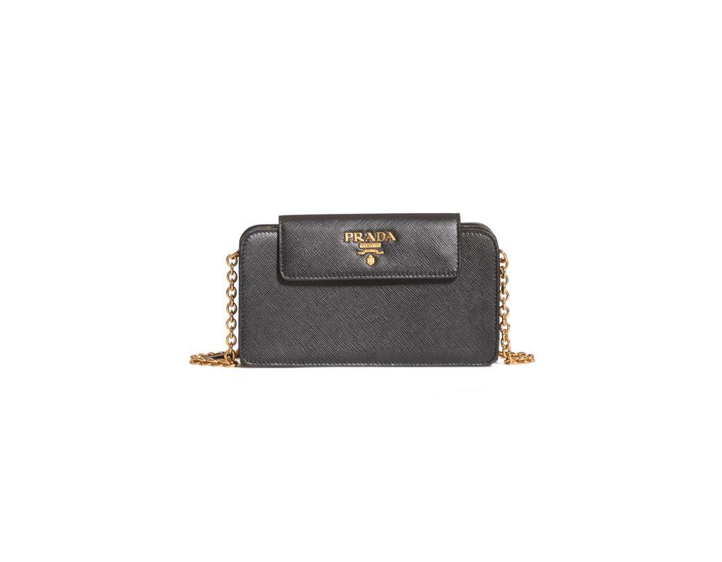 24c5b825c481 Lyst - Prada Saffiano Leather Wallet On A Chain -