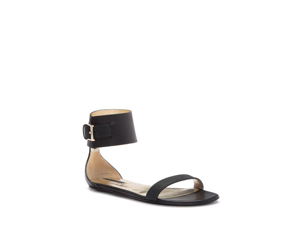 1b5da53a8fae Lyst - Longchamp Sunset Ankle Strap Leather Flat Sandal in Black