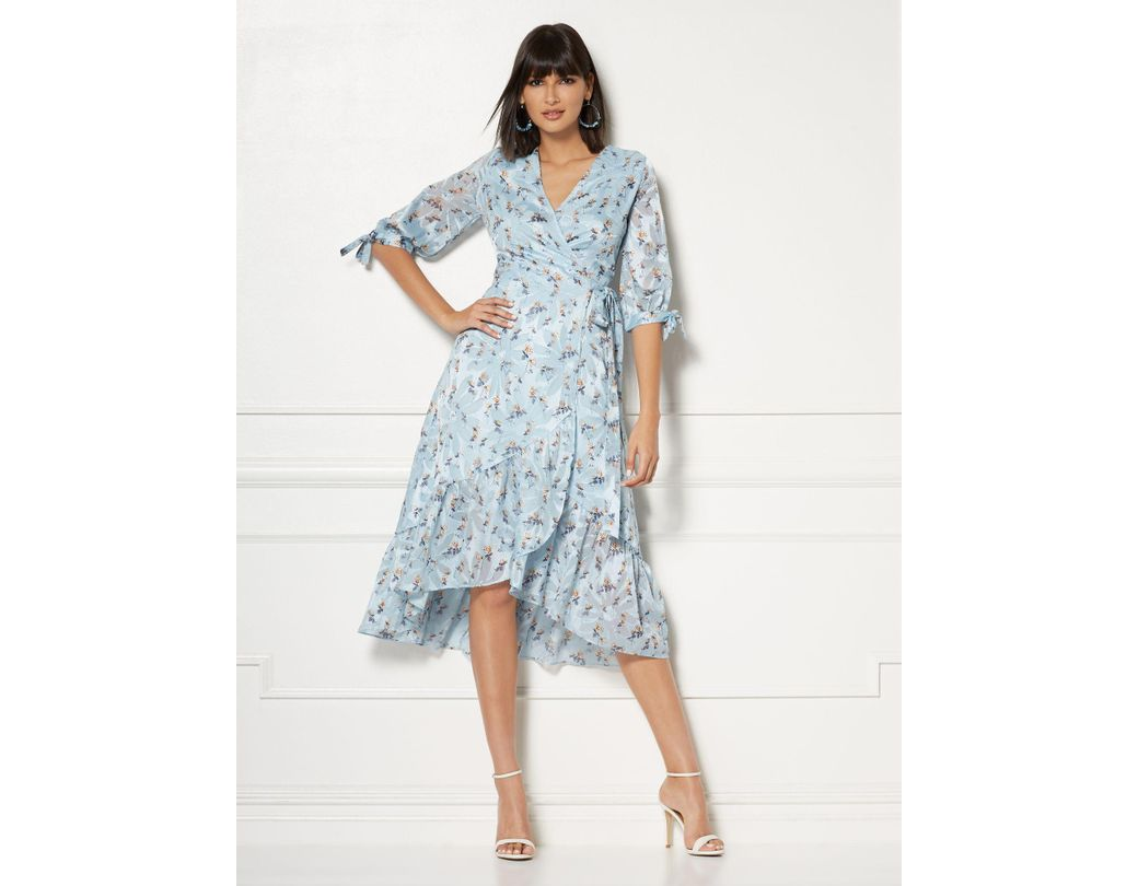 60b5ca21737 Lyst - New York   Company Cassidy Blue Floral Wrap Dress - Eva ...