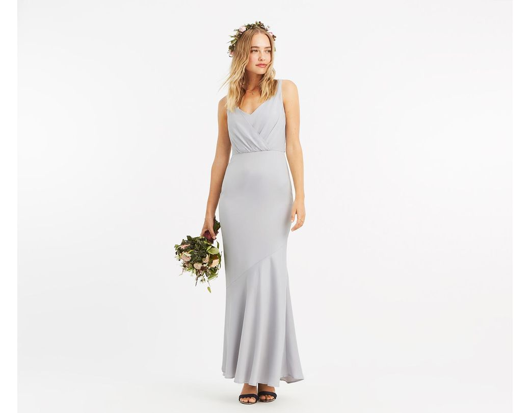 5f34f7658e6 Oasis Slinky Wrap Over Slinky Maxi Dress in Gray - Lyst