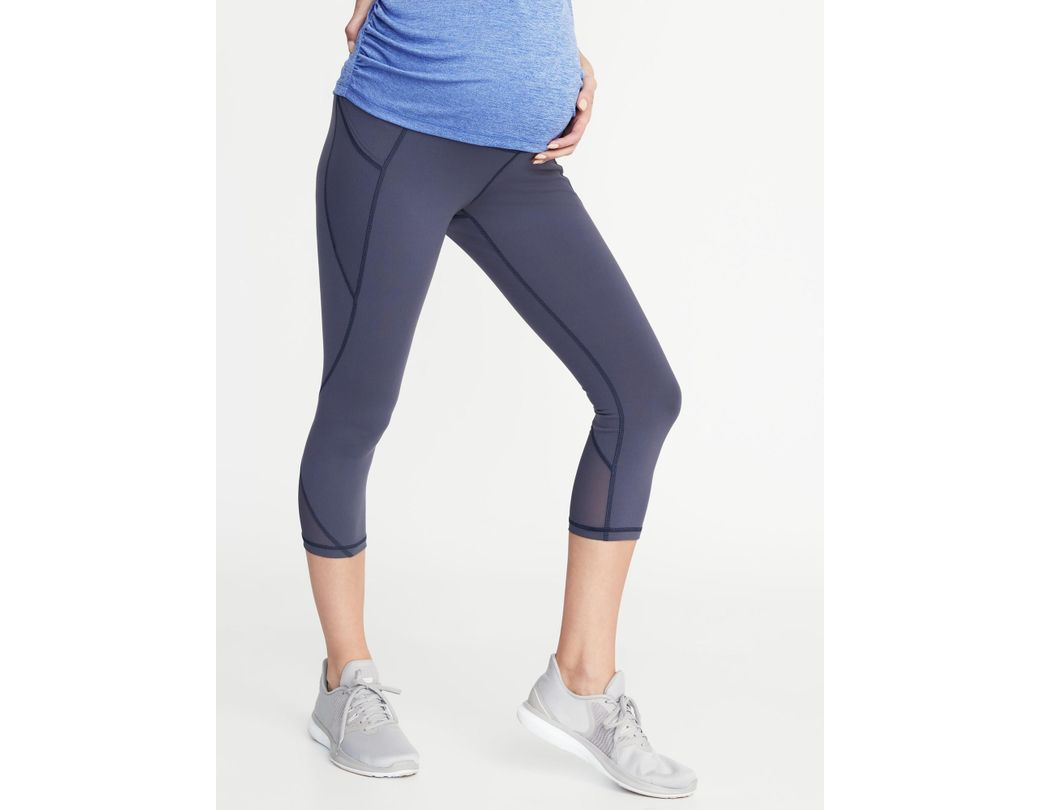 254dd91d9e63a7 Old Navy. Women's Blue Maternity High-rise Mesh-trim Side-pocket Compression  Crops