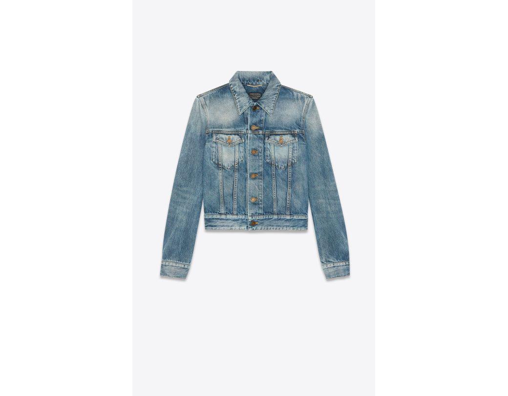 57b63e1772 Lyst - Saint Laurent Used Medium Blue Denim Jacket With Worn-look ...
