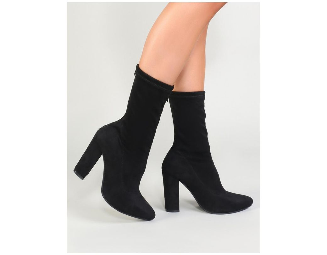 7070ebceb990 Public Desire Montreal Sock Fit Ankle Boots In Black Faux Suede in ...