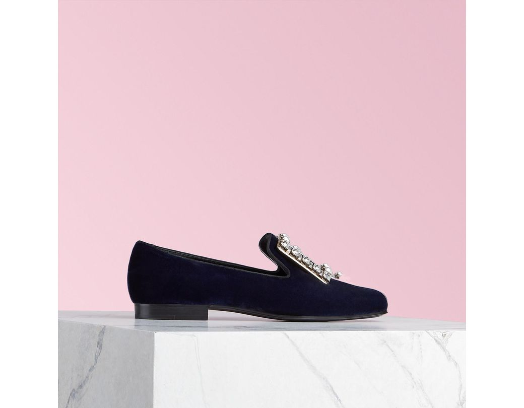 9eb24b8be526 Lyst - Roger Vivier Très Vivier Strass Buckle Loafers in Blue