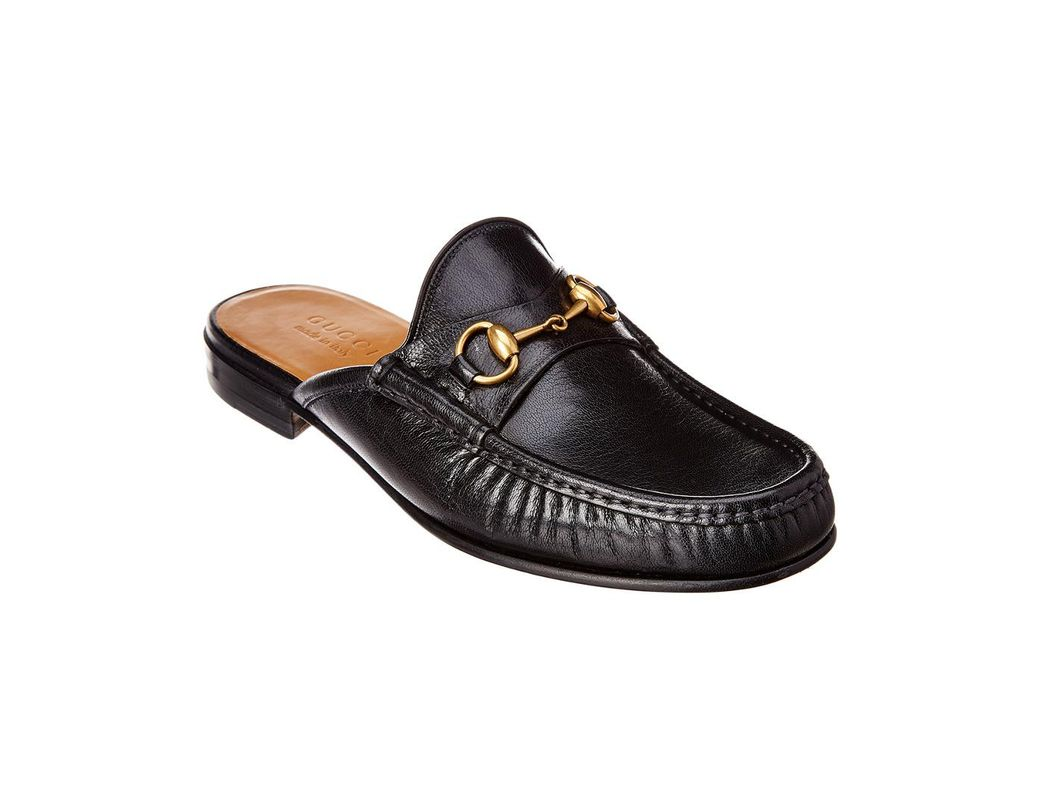 fa1f87d9e Lyst - Gucci Horsebit Leather Slipper in Black for Men