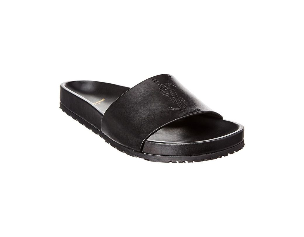 60692ff96f15 Lyst - Saint Laurent Jimmy Logo Leather Slide in Black for Men