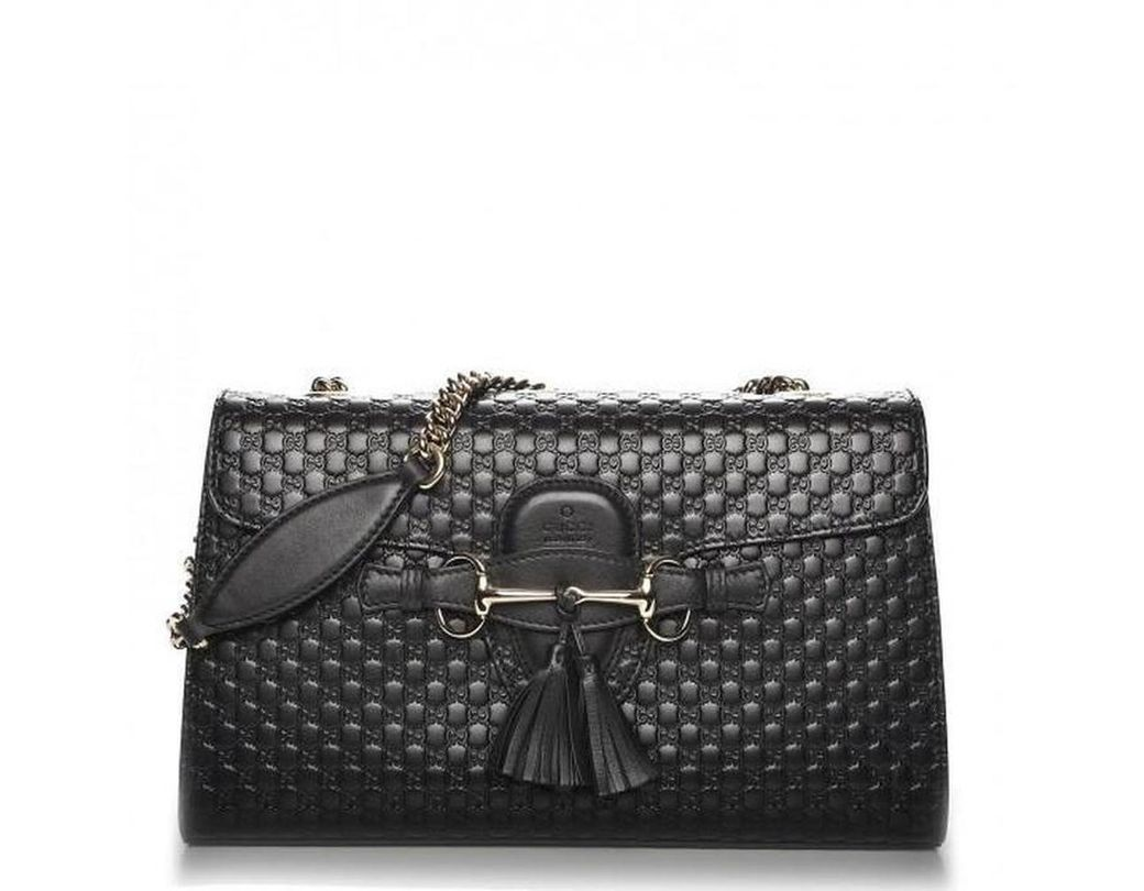 99ad056371e Gucci Emily Ssima Large Chain Shoulder Bag in Black - Lyst