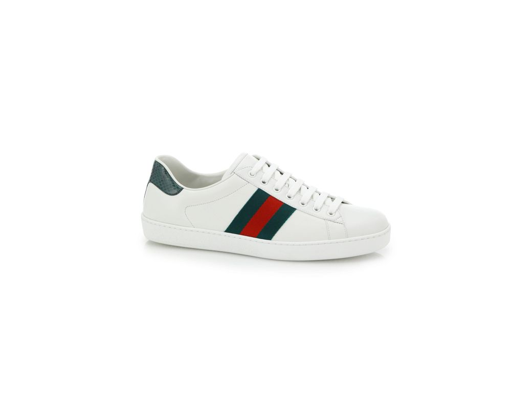 4393d93eb2b Lyst - Gucci Croc-detail Ace Leather Sneakers in White for Men