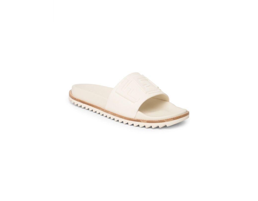 4f557780 Fendi Men's Logo Embossed Slide Sandals - Blue Denim in White for ...