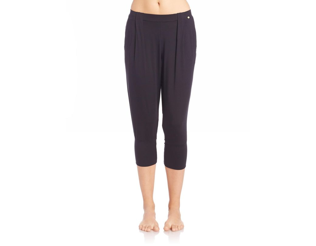 6b7edfc2e0238 Lyst - Hanro Women's Yoga Fashion Cropped Lounge Pants - Taupe in Black