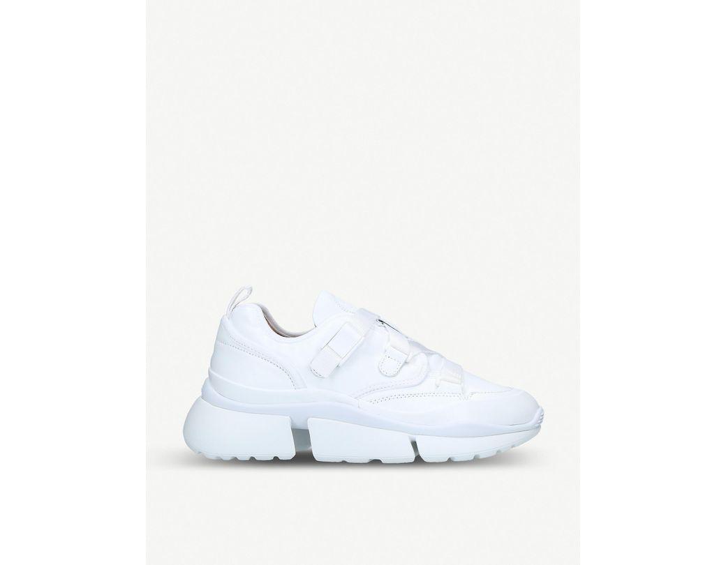 48a7eea267ca Chloé. Women s Low-top Sneakers Sonnie Calfskin Elastane Nylon Polyester  White