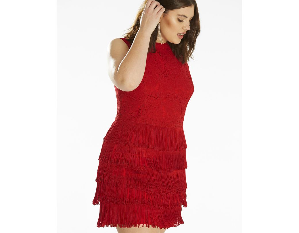 56a3efd5431a Simply Be Oasis Fringe And Lace Shift Dress in Red - Lyst