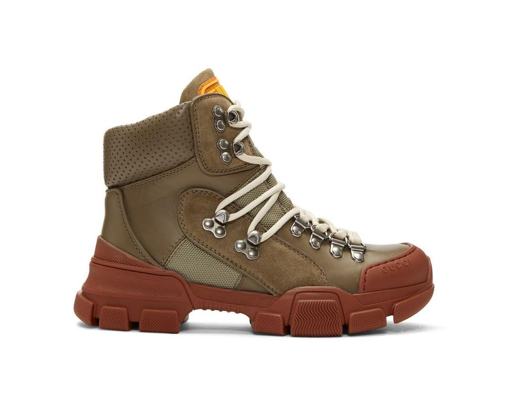 00606110981 Lyst - Gucci Khaki And Red Flashtrek Boots - Save 53%