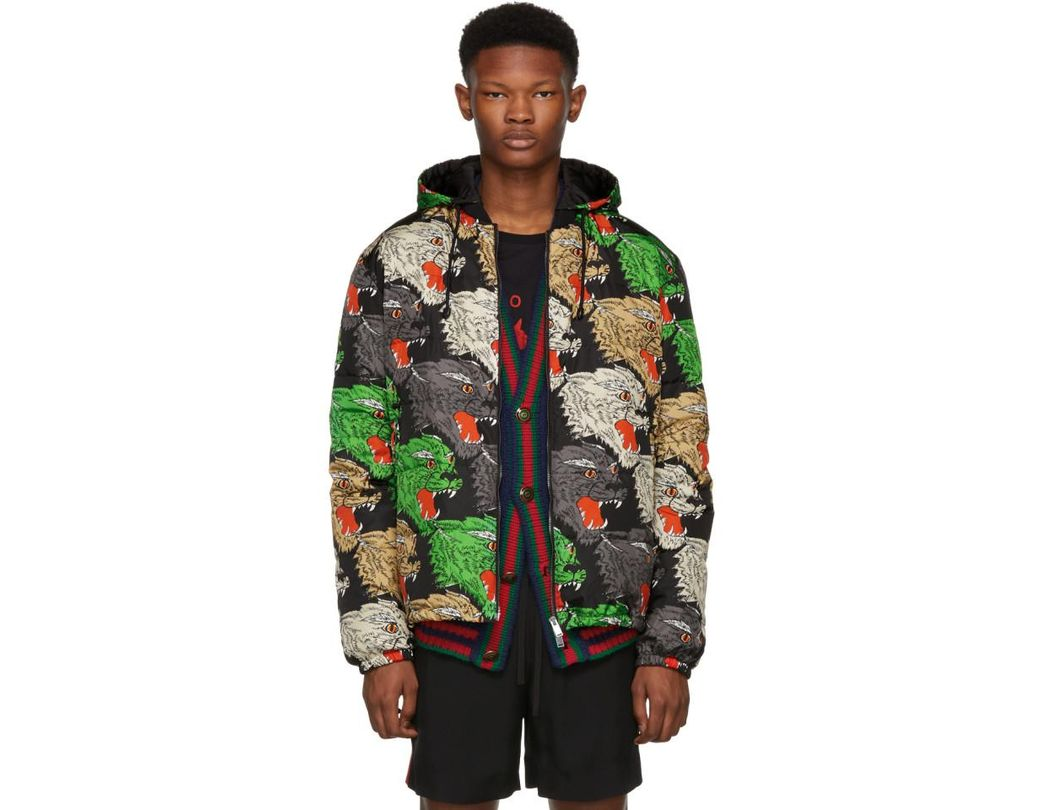 55074c6d361 Lyst - Gucci Multicolor Panther Down Jacket in Green for Men