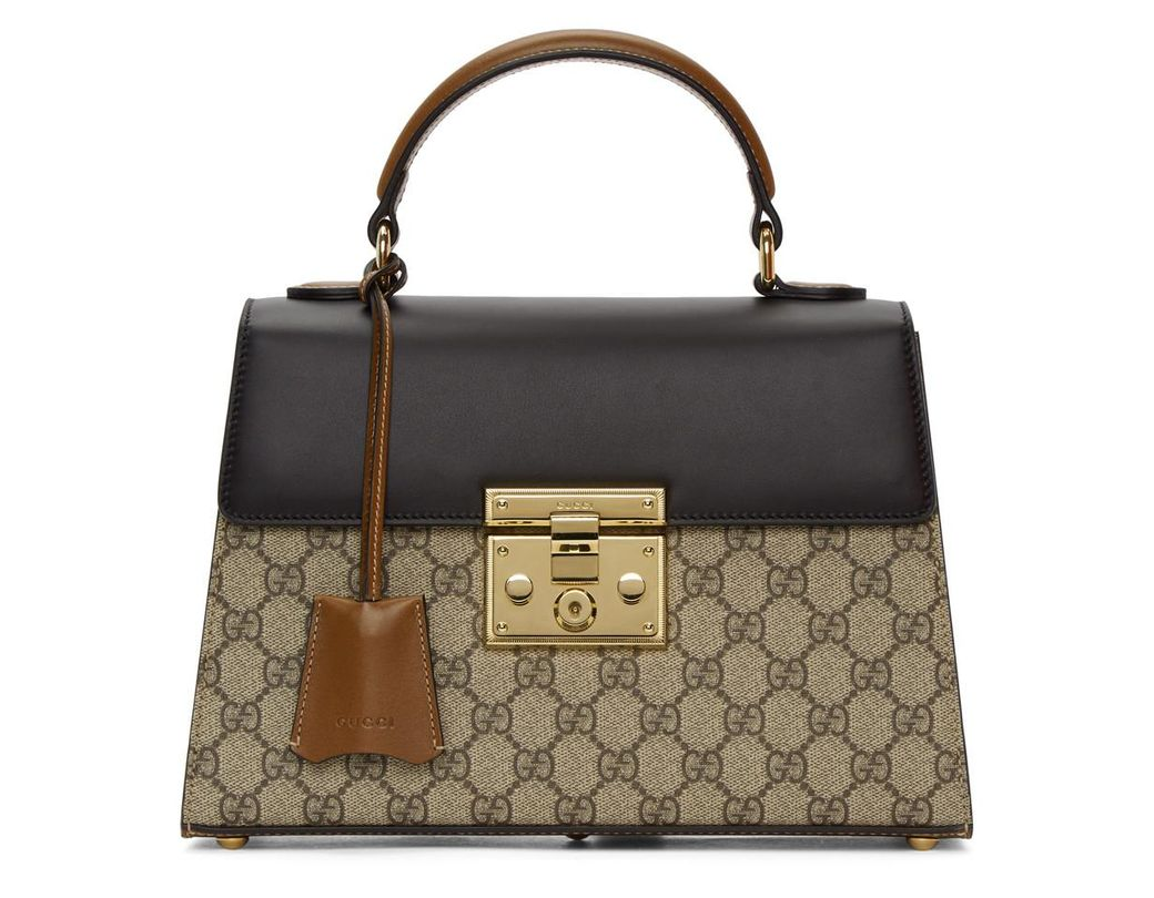 996489df5fd Gucci Beige Small GG Supreme Padlock Bag in Brown - Save 9% - Lyst