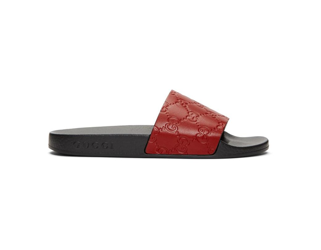 4481dce7f170 Gucci Red GG Supreme Pool Slides in Red - Save 49% - Lyst