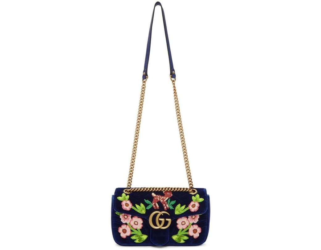 2019fb704b8 Gucci Blue Small Velvet Embroidered GG Marmont 2.0 Bag in Blue - Lyst