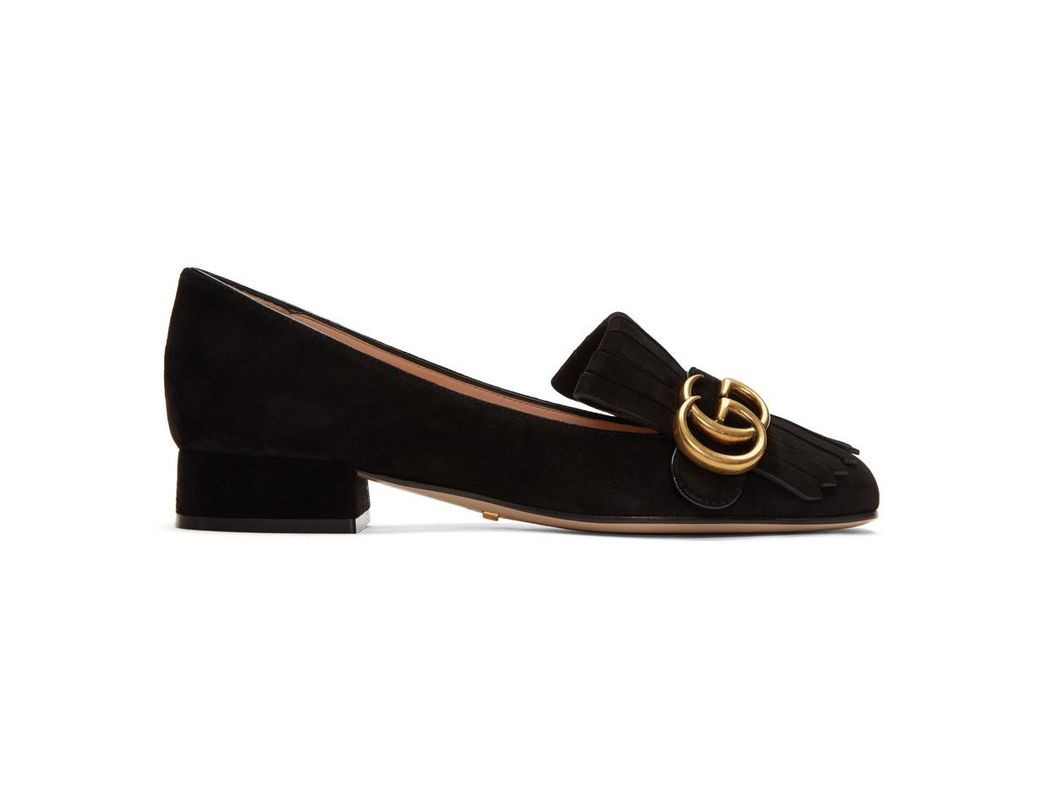 2f411788f316 Lyst - Gucci Black GG Marmont Loafers in Black
