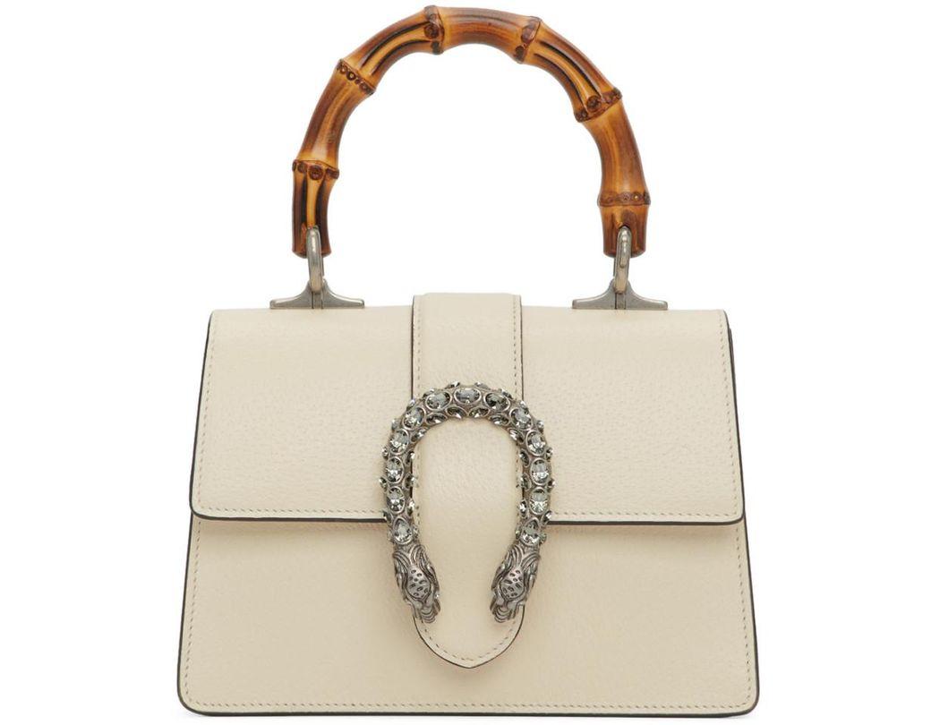 d0e39967788 Lyst - Gucci White Mini Dionysus Top Handle Bag in White