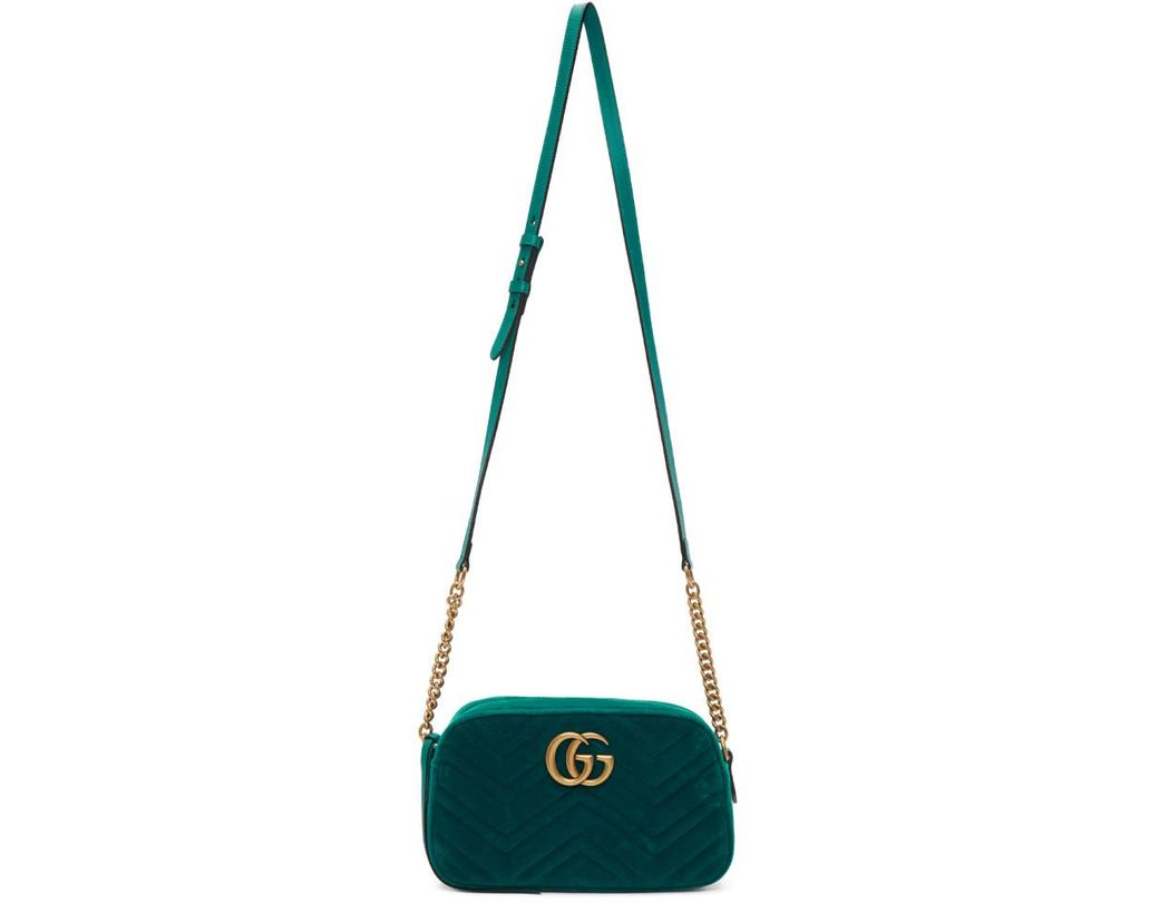 a7bc80312c7bd Lyst - Gucci Green Small GG Marmont Camera Bag in Green - Save 7%
