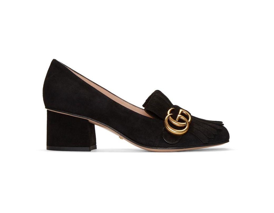 6906c9c07f2 Gucci Black Fringe Marmont Loafer Heels in Black - Lyst