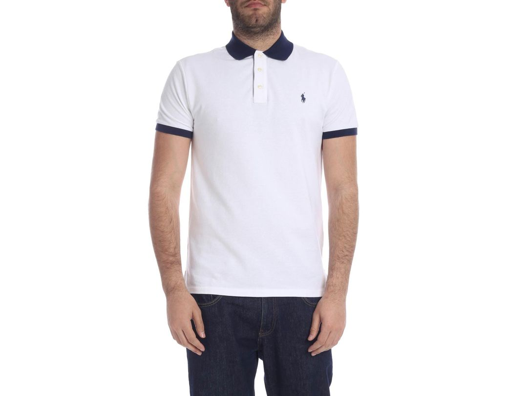080fc1cb Long-Touch to Zoom. Long-Touch to Zoom. 1; 2; 3; 4. Polo Ralph Lauren -  Slim Fit Polo In White With Blue Logo for Men - Lyst ...