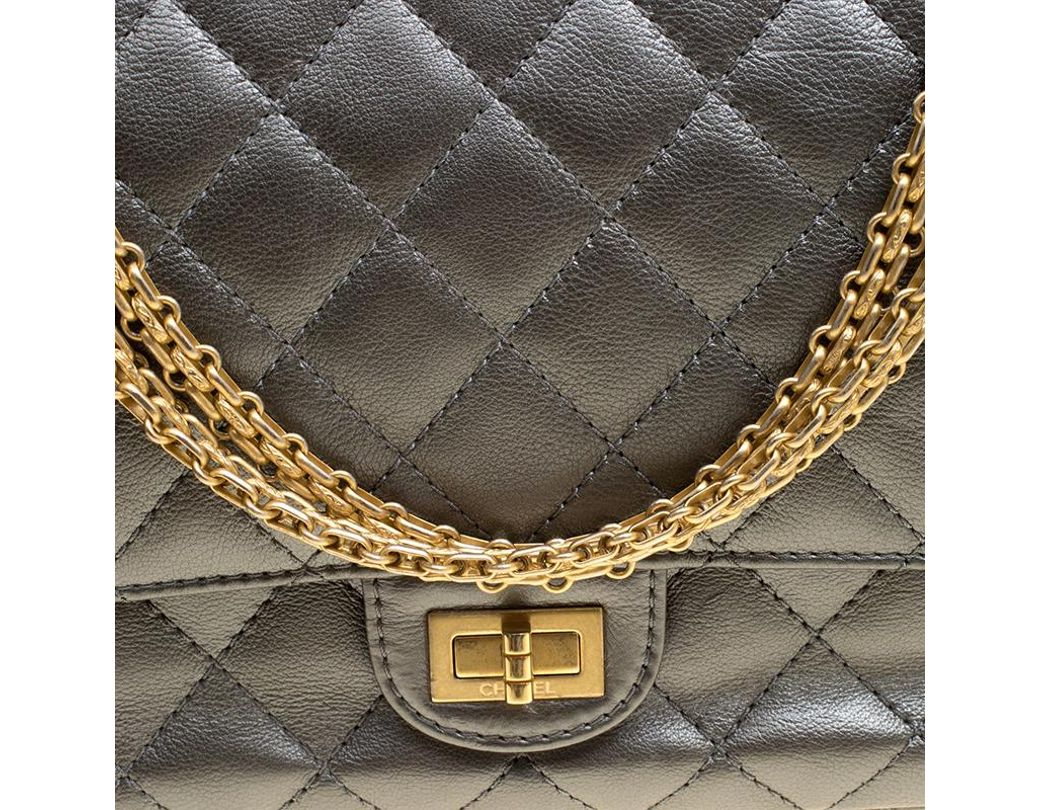 278e5bf59441 Chanel Grey Quilted Leather Reissue 2.55 Classic 226 Flap Bag in Gray - Lyst