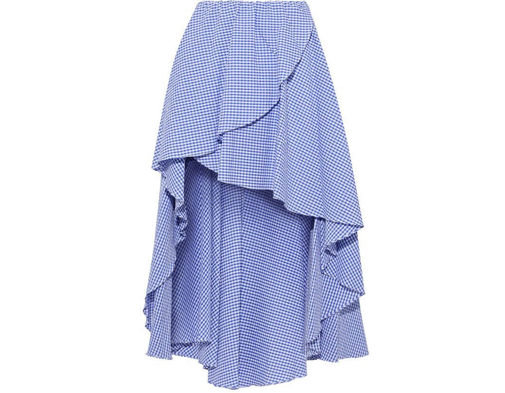 43c4917b4c Caroline Constas. Women's Woman Adelle Asymmetric Gingham Cotton-seersucker  Mini Skirt Blue