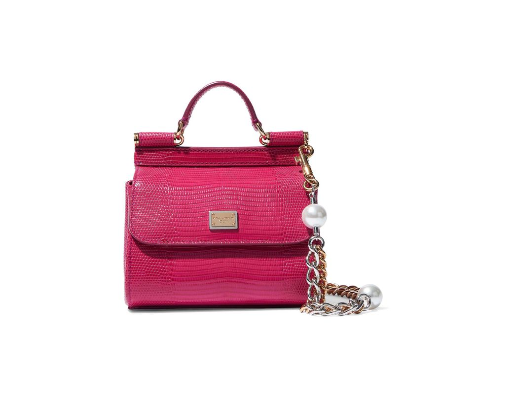 4b060bff Dolce & Gabbana Woman Sicily Lizard-effect Leather Shoulder Bag Magenta -  Lyst