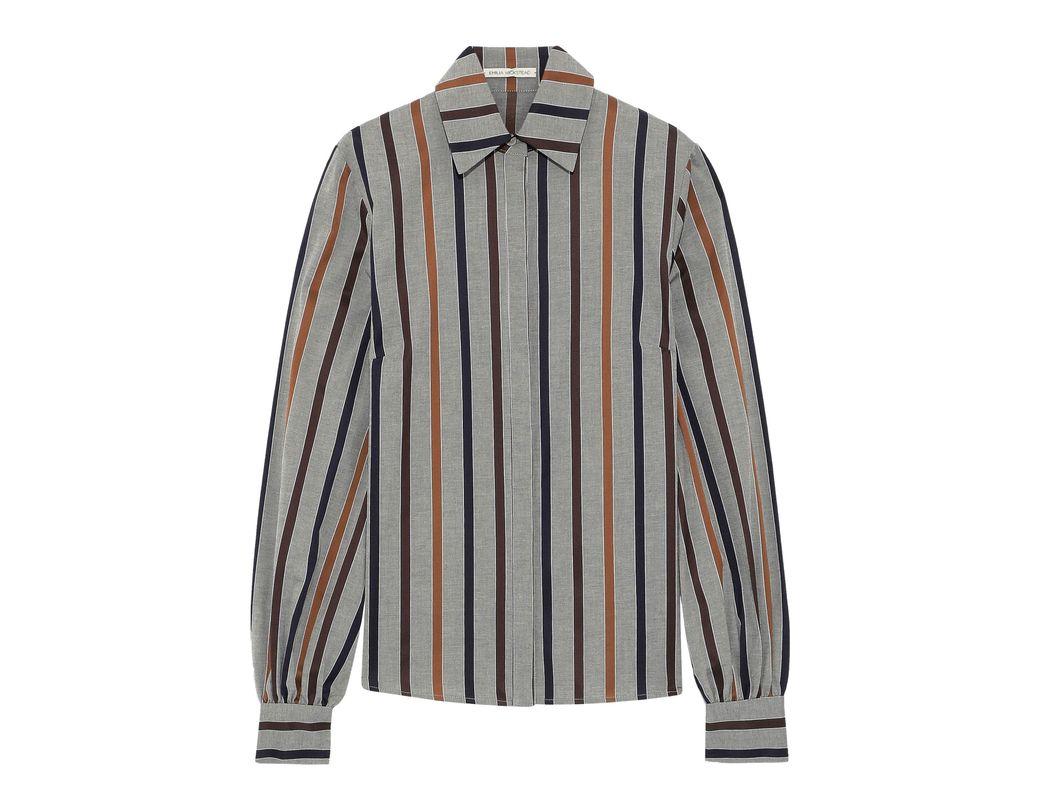 d0b293a7730e93 Lyst - Emilia Wickstead Woman Striped Cotton Oxford Shirt Gray in Gray