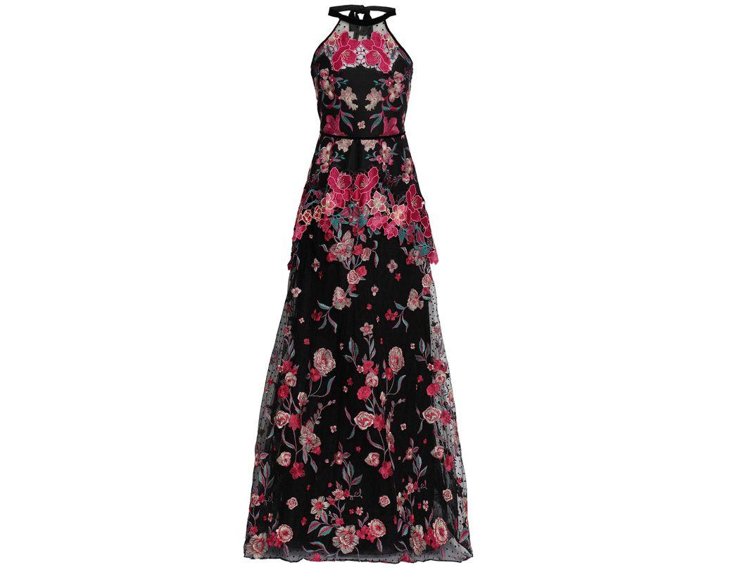 7bea09d464e Marchesa notte. Women's Woman Crocheted Tulle And Scuba Peplum Dress Black