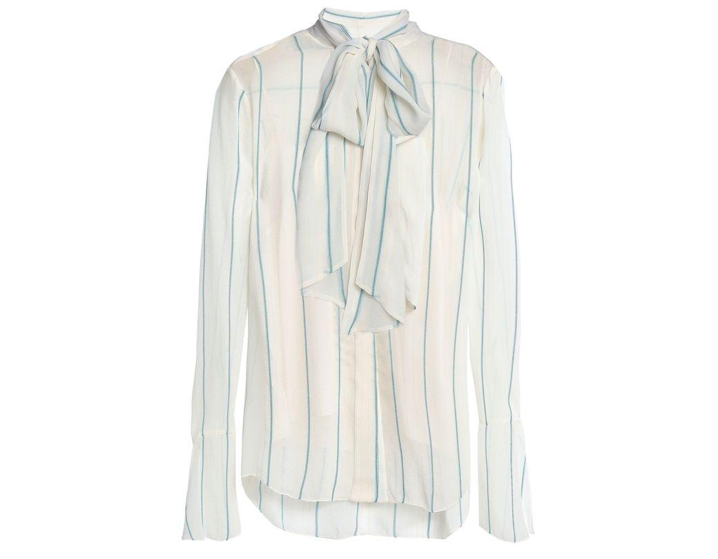d2313acd57674 Lyst - Chloé Chloé Woman Pussy-bow Striped Silk-blend Georgette ...