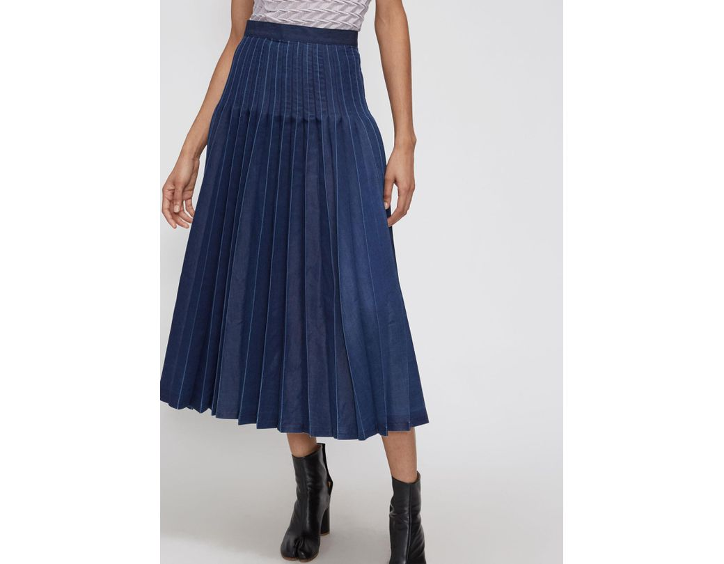 61654be36d Junya Watanabe Denim Pleated Skirt in Blue - Lyst