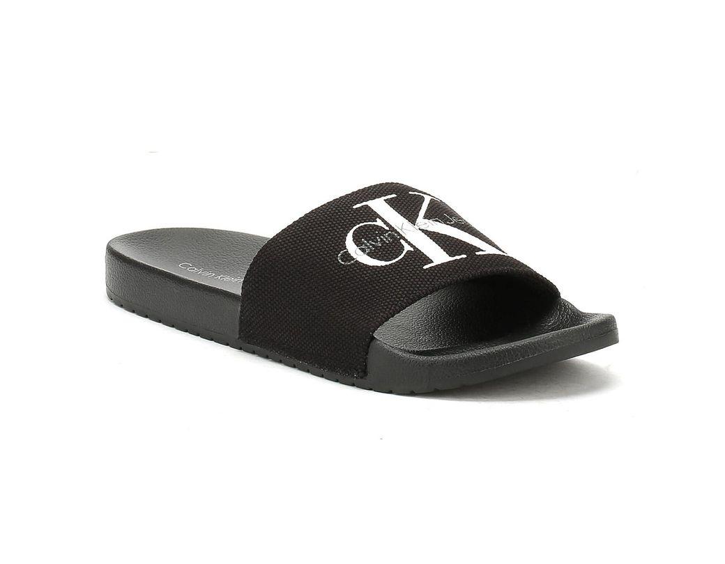 416142493cec Calvin Klein Mens Black Viggo Slides in Black for Men - Lyst