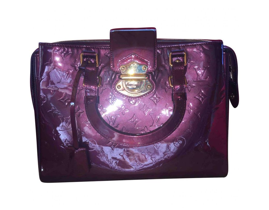 a93903bb600f Lyst - Louis Vuitton Patent Leather Handbag in Purple
