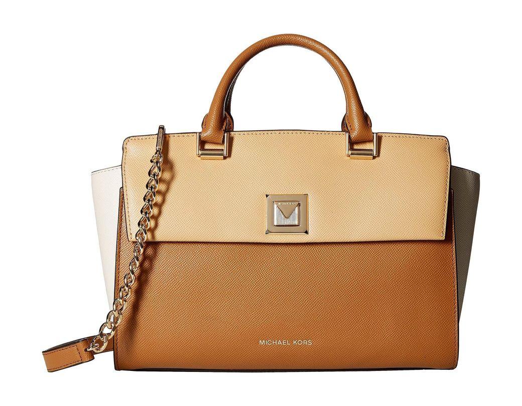 6d4a718086ac MICHAEL Michael Kors. Women's Sylvia Medium Top Zip Satchel (butternut/light  Cream/acorn) Satchel Handbags