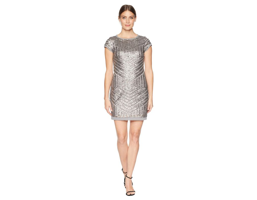 0bc09bc827cc Lyst - Vince Camuto Sequin Shift With Chiffon Details (silver ...