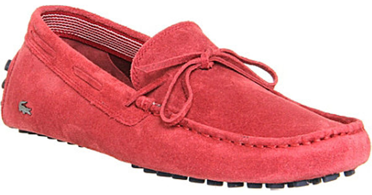 a3b65470d5677 Lacoste Concours Lace-Up Suede Driving Moccasins - For Men in Red for Men -  Lyst