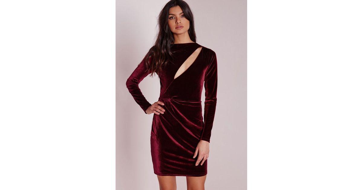 Lyst - Missguided Velvet Long Sleeve Bodycon Dress Burgundy in Purple