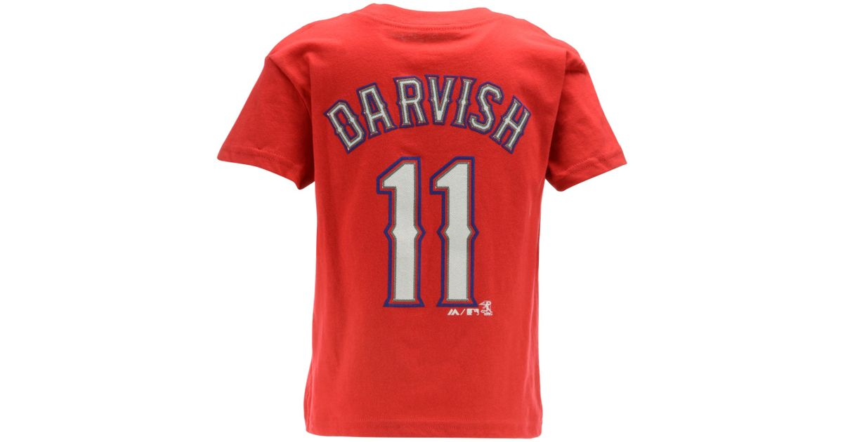 hot sale online 7b45c bf701 Majestic - Red Kids' Yu Darvish Texas Rangers Player T-shirt for Men - Lyst