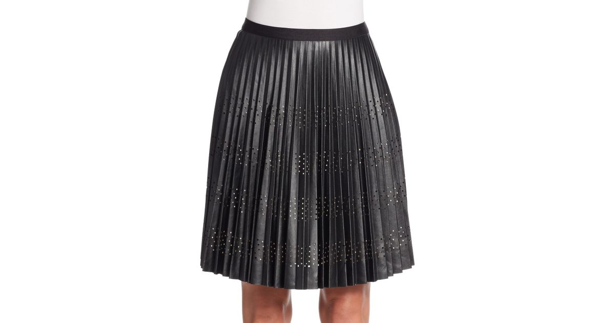 catherine malandrino blair pleated perforated a line skirt
