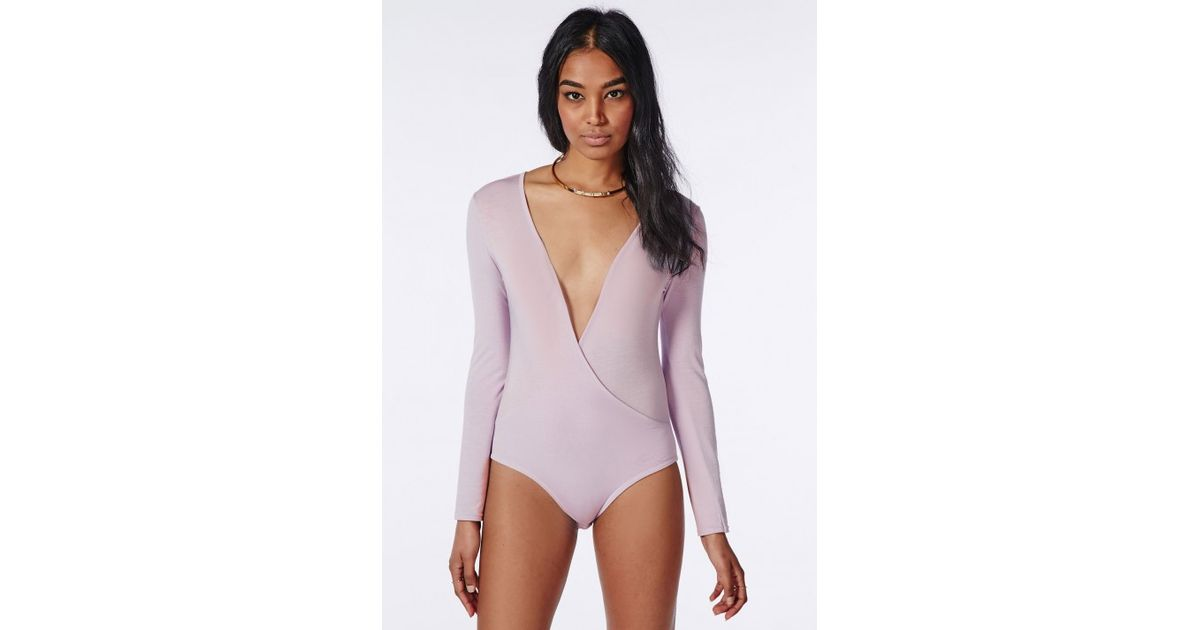 Lyst - Missguided Long Sleeve Wrap Over Plunge Bodysuit Lilac in Purple 6eb8b241f