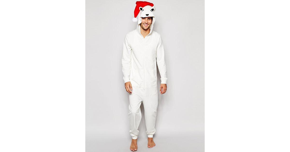 2d77b2b3a2a7 Lyst - ASOS Loungewear Christmas Polar Bear Onesie in White for Men