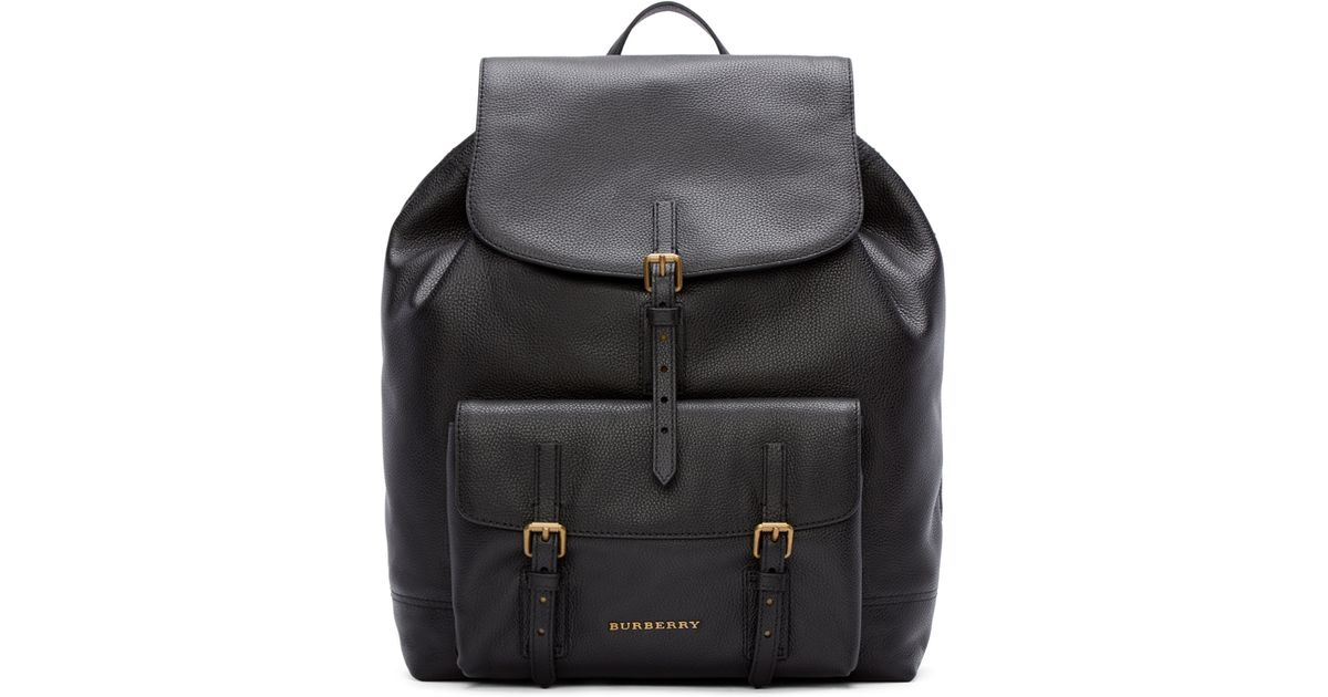 80f871bc4304 Burberry Black Leather Brookdale Backpack in Black for Men - Lyst