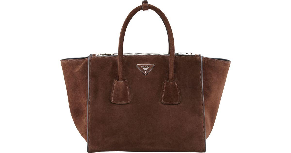 0d3a964b2eaa Prada Suede Twin Pocket Tote Bag in Brown - Lyst