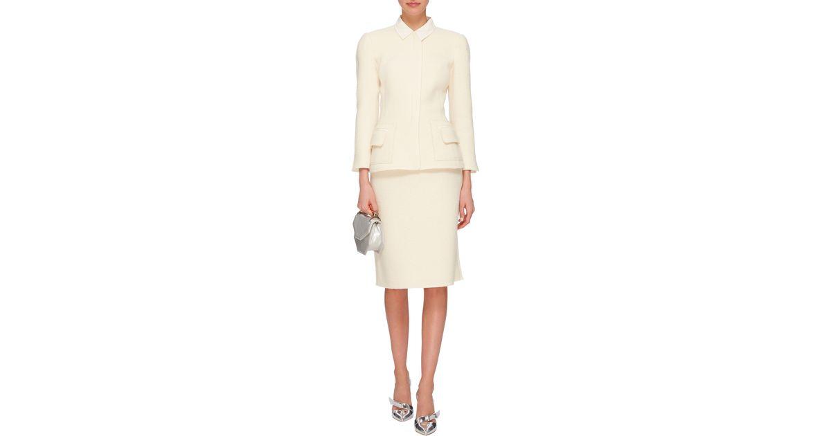 oscar de la renta wool pencil skirt in white lyst