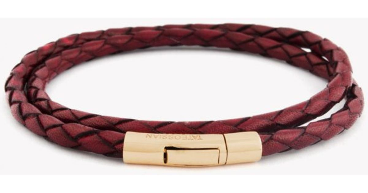 Lyst Tateossian Double Wrap Scoubidou Red Leather Bracelet With 18k Rose Gold Clasp In For Men