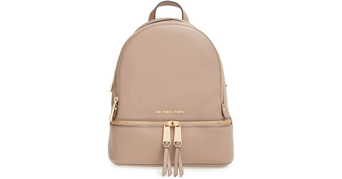 113fe5152d10 ... promo code lyst michael michael kors extra small rhea zip leather  backpack in pink b25df 208c3