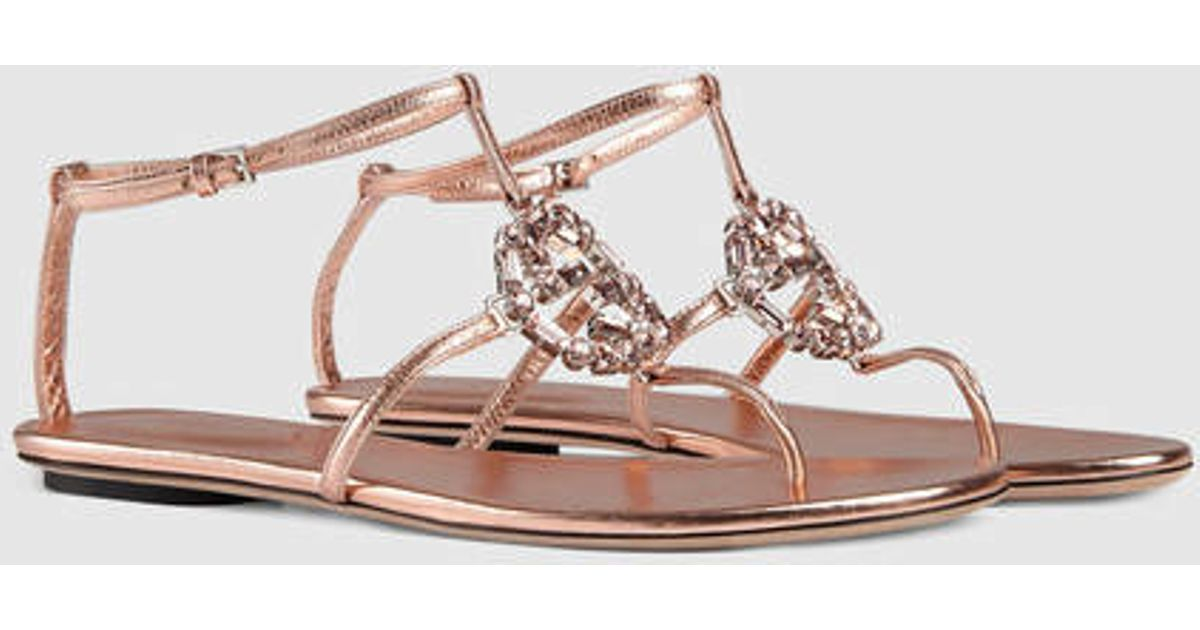 89c9ef354f37 Lyst - Gucci Gg Sparkling Leather Sandal in Pink