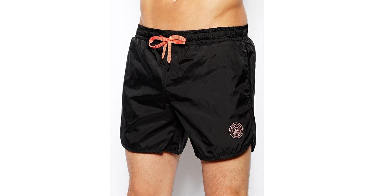 33fecb52f5 Pull&Bear Swim Shorts in Black for Men - Lyst